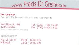 Dr. med. Hans-Joachim Greiner Facharzt für Frauenheilkunde u. Geburtshilfe Berlin