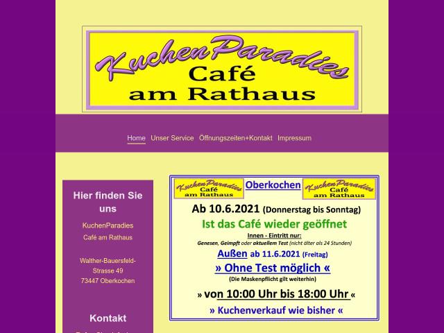 Kuchenparadies Cafe Am Rathaus Tel 0174 54556