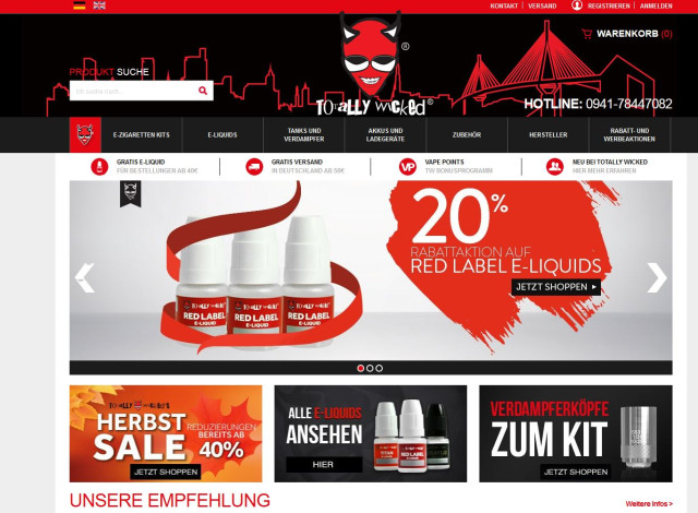 Totally Wicked E-Liquid (Europe) Regensburg | Öffnungszeiten